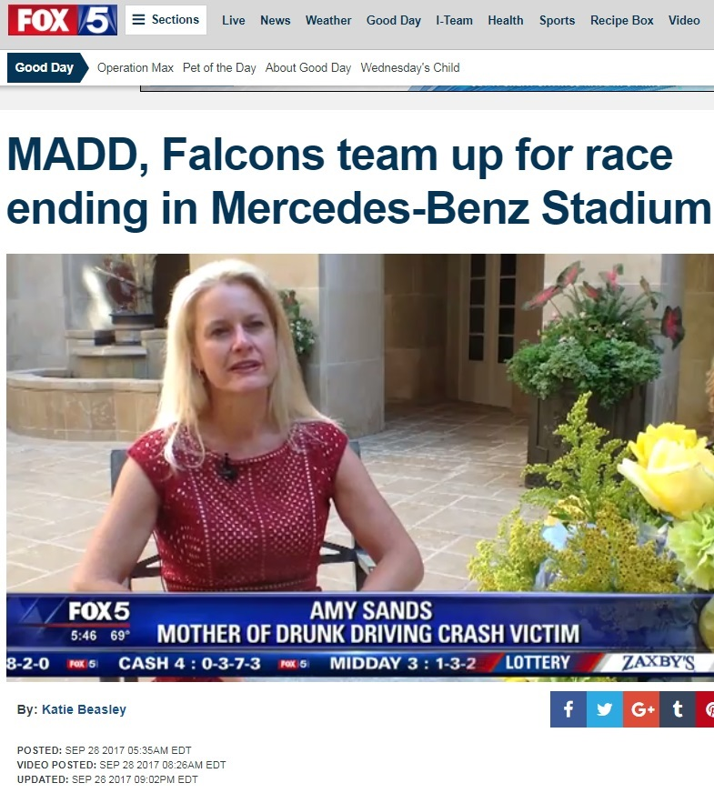 Amy Sands Fox 5 - MADD - Georgia, State Office