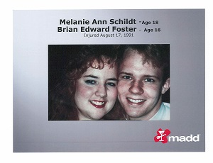 Melanie Schildt and Brian Foster slide