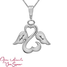 engraveable Open Hearts angel necklace