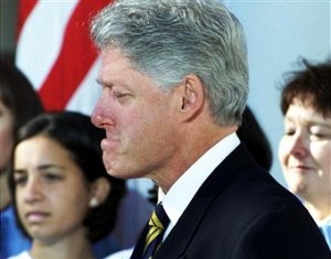 Bill Clinton reacting to Millie Webb story at White House October 23, 2000