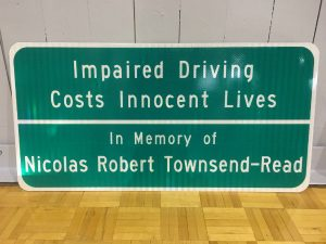 Nick Townsend memorial sign 600x
