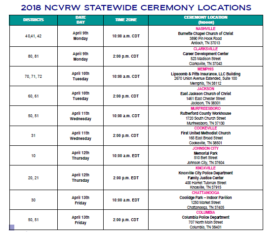 National Crime Victims Rights Week 2018 list of TN events