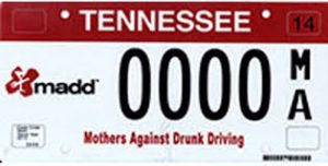MADD TN plate with 0000