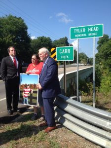 Gina Head Hieber at Tyler Head Memorial Bridge Dedication
