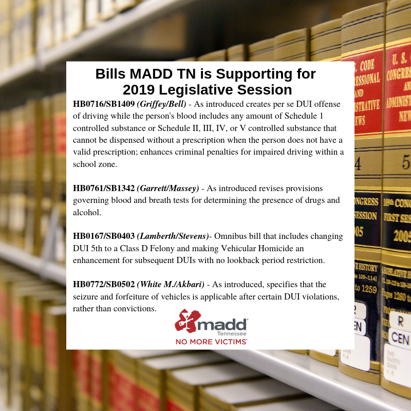 MADD TN BILLS for 2019 legislative session with sponsors