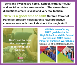 MADD is now offering online Power of Parents Workshops.
