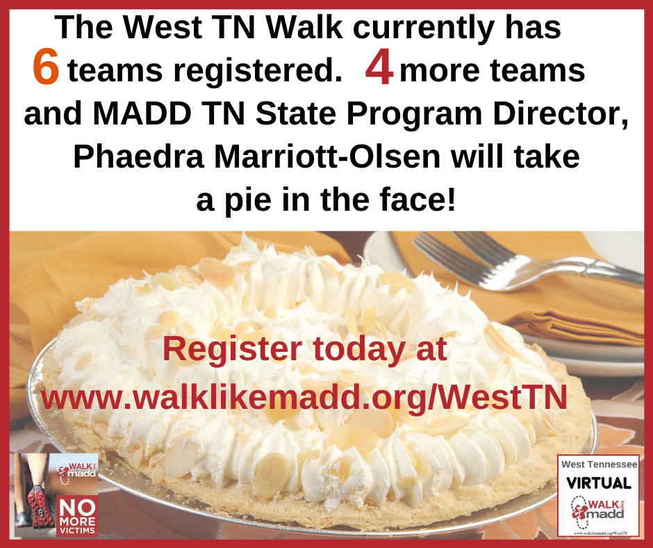 6 teams West TN Walk pie graphic