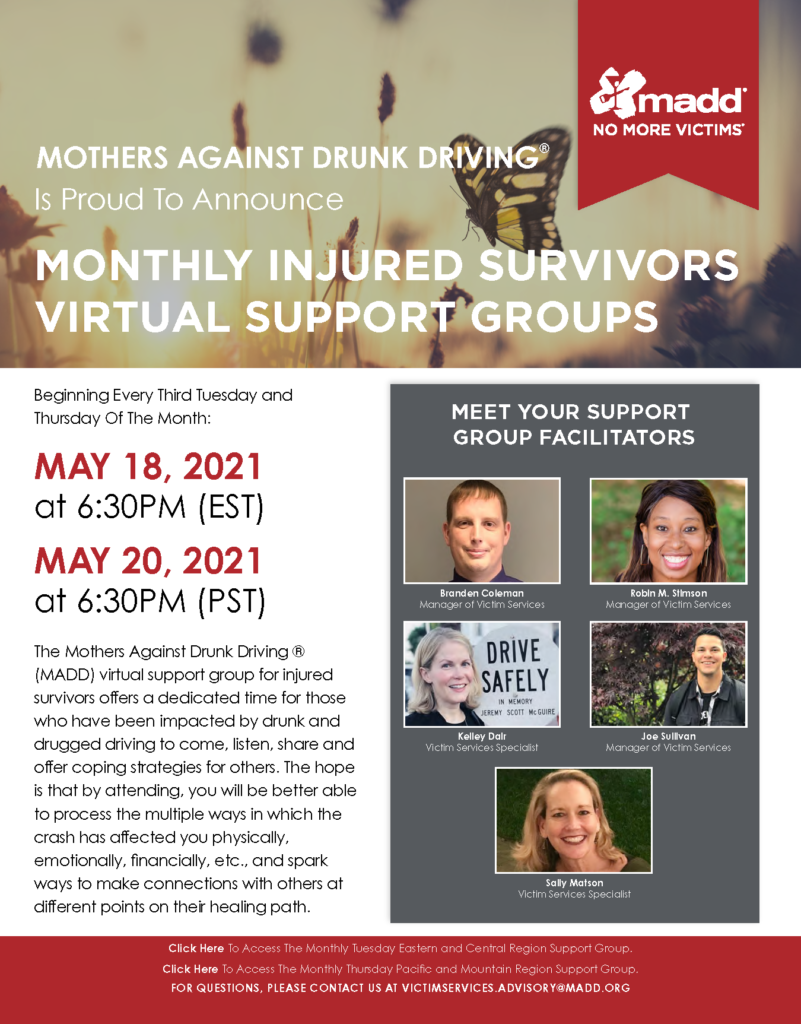May 2021 National Injured Survivors Virtual Support Groups Flyer