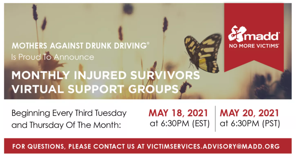 May 2021 National Monthly Injured Survivors Support Groups