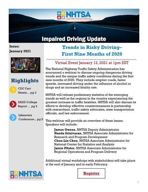 NHTSA January 2021 Impaired Driving Update.