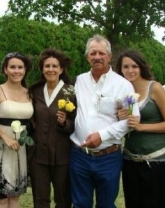 Jimmy Broadstreet with his wife and daughters