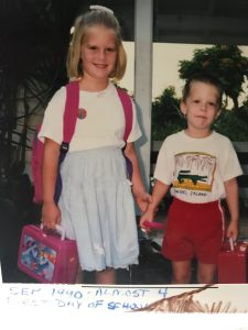 Helen Marie and John pose with their new lunch boxes on the first day of school in 1990.